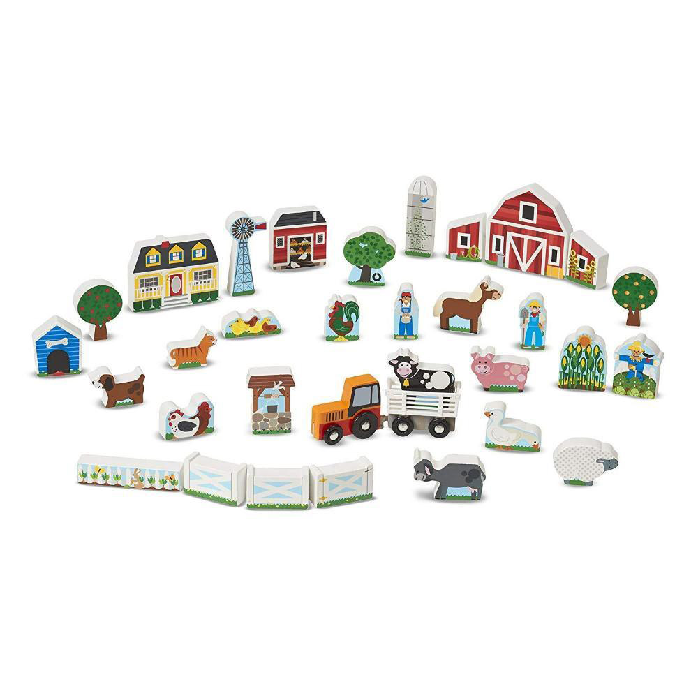 Melissa & Doug Wooden Farm and Tractor Play Set1