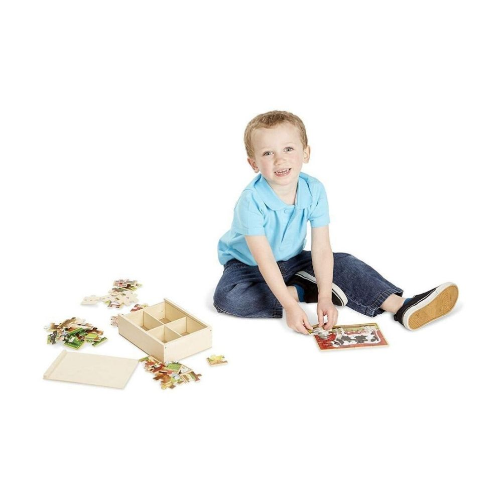 Melissa & Doug Farm 4-in-1 Wooden Jigsaw Puzzles in a Storage Box