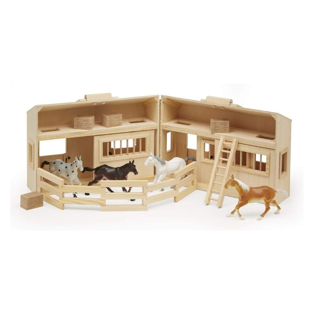 Melissa & Doug Fold and Go Wooden Horse Stable