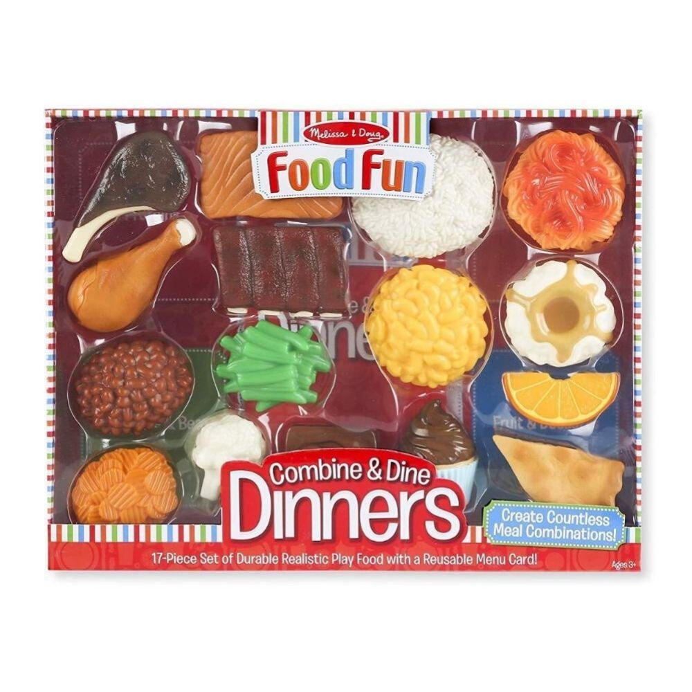 Melissa & Doug Food Fun Combine & Dine Dinner Set, Red