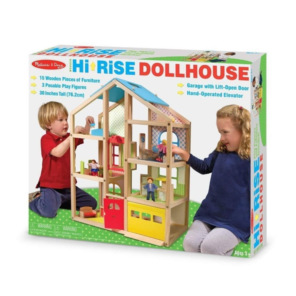 Melissa & Doug Hi-Rise Wooden Doll House